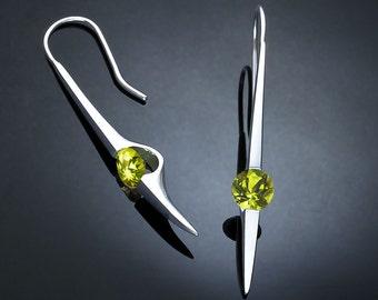 peridot earrings, silver dangle earrings, August birthstone, statement earrings, Argentium silver, artisan earrings, for her - 2444