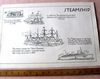 "Vintage Old Classroom School Poster 12"" x 18"" Steamship 1930's History Normandie French"