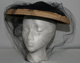 Wonderful 1950s New Look Era Navy Straw Saucer Hat with Generous Veiling - 50s Millinery - Wide Brim - Near-Black - Hexagon Netting - 27117