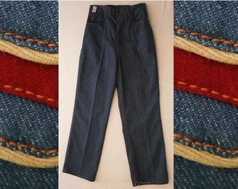 Late 1970s Classic Denim Jeans by 'JEGS' - Size 13 14 - Large - Blue Denim - Wide Leg - Fall - Deadstock - Waist 32 to 36 - 37346-1