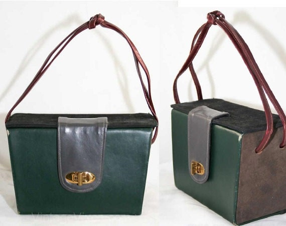 Retro Handbags, Purses, Wallets, Bags Chic 1930s Forest-Gray-Burgundy Color Block Handbag Box Bag - Leather - NOS - Deadstock - Authentic 30s #39570-1 $64.99 AT vintagedancer.com