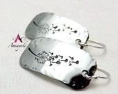 Silver earrings, dandelion earrings, rectangle earrings, flower earrings, stainless steel earrings, dangle earrings, simple jewelry
