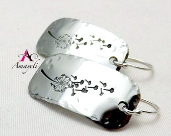 Silver dandelion wishes earrings stainless steel hand stamped