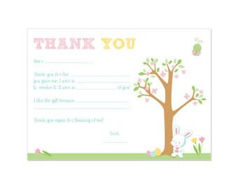 50% OFF SALE - PRINTABLE Easter Party Horizontal Fill-In Thank You Card - Instant Download