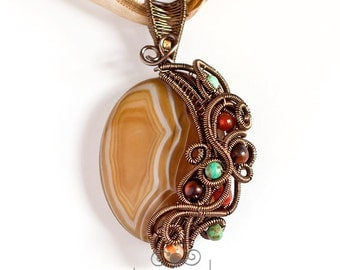 OOAK Brown, red and blue agate wire wrapped pendant