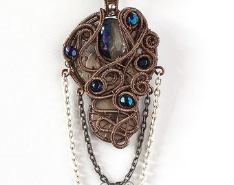 OOAK Dark blue steampunk watch and dichroic glass wire wrapped pendant