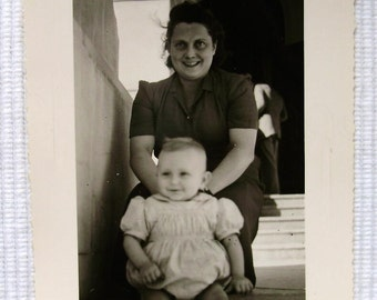 1950's Summertime Photo - Woman and Baby on Steps