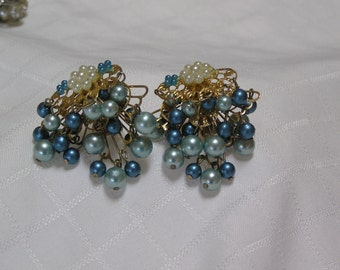 Vintage BeauJewels blue dangling beaded on triple tiered gold tone filigree clip earrings
