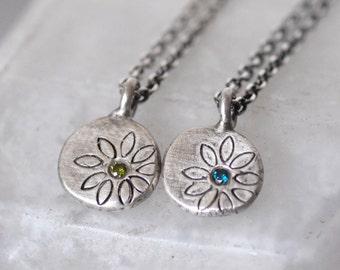 Diamond Necklace- Silver Diamond Disc Pendant - Diamond Pebble Pendant - Choose Your Diamond Color