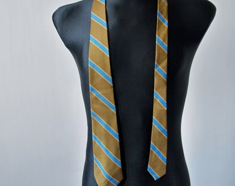 60's Olive Blue Gold striped Tie Arrow Decton Perma-iron
