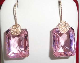 GENUINE, 47cts Cushion CKB Pink Topaz gemstones, 14kt yellow gold pierced earrings