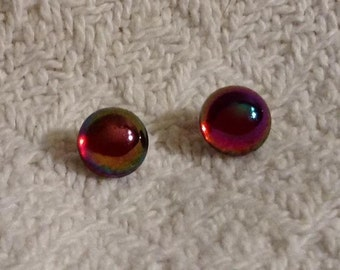 Ruby Red with a Touch of Rainbow Post Earrings