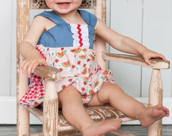 Girls Bubble Romper Sunsuit Ruffled Bum Picnic Collection Toddler Infant Girls
