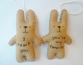 Christmas ornament set felt animal tree decoration - funny bunny rabbit - You're my favorite and I heart you