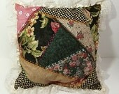 Romantic Crazy Quilt Pillow Cover - Lace Trimmed Victorian Decorator Pillow Cover - Shabby Chic Pillow Cover