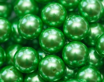 20mm Green Faux Pearl Chunky Bubblegum Necklace Beads 10 ct - Chunky Beads