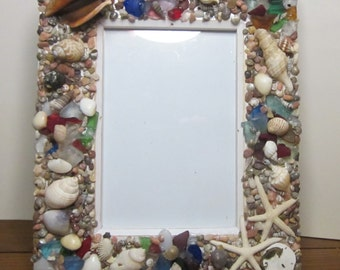 Beach decor Seashell multi colored frame with seahorse