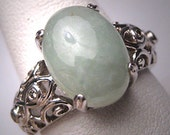 Vintage Chinese Jadeite Jade Diamond Ring Estate Deco