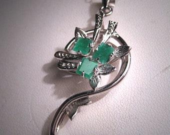 Antique Emerald Pendant Necklace Vintage Art Deco Retro