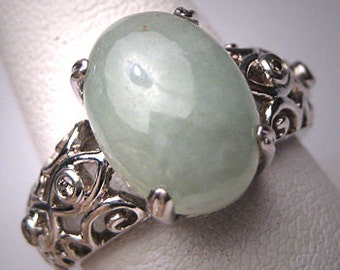 Vintage Chinese Jadeite Jade Diamond Ring Estate Deco