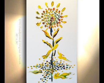 ORIGINAL Picture Oil Painting Abstract Flower Tree Yellow Blue Green White Metallic Landscape Artwork Textured 48x24 Modern art by OTO