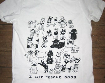I Like Rescue Dogs White Kids Tshirt