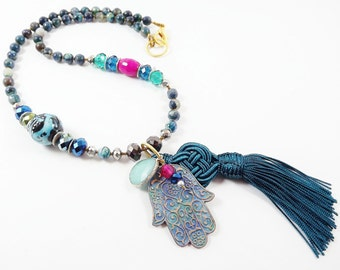 Teal Green Hamsa Necklace Fatima Hand Statement Gypsy Protective Jewelry Hippie Bohemian Artisan - One Of a Kind