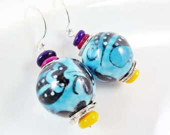 Gypsy Bohemian Colorful Ceramic Bead Earrings - Blue - Sterling Silver Earwire