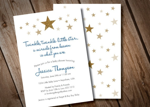 Twinkle Twinkle Little Star Baby Shower Invitation Gold