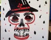 Skulltastic red and black skull drawing on canvas
