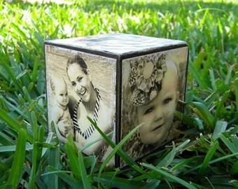Personalized wooden Photo Cube Custom Made