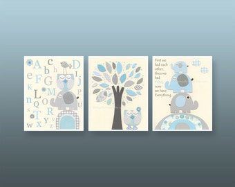 Nursery wall Art, Kids Room, baby print, baby room art, pale blue and gray, aqua and gray, first we had, set of 3 prints, abc, nursery tree