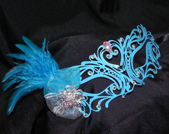 Laser Cut Metal Mask in Turquoise and Silver