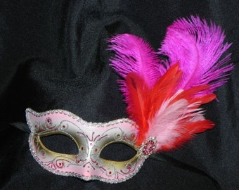 Feather Mask in Shades of Pink, Red and Silver