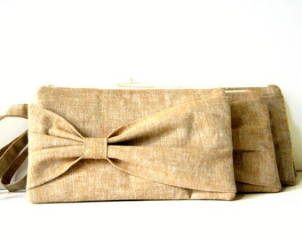 set of 4 custom wristlets / tan bow clutch / design your own bridal clutches / bridal clutches /  summer fall fashion / linen clutch