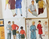 Lot of 1960s Vintage Boys  and Mens Sewing Patterns / Precut/ 60s Lot No. 5
