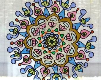 Pastel Wimsey  mandala window cling