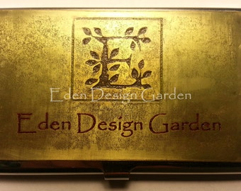 Metal business card holder with custom etched metal plate-logo,words, or image