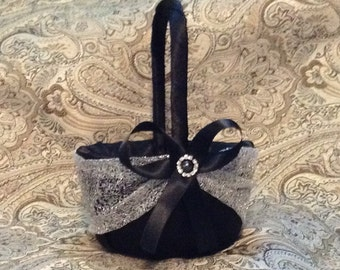 wedding flower girl basket black and silver color custom made