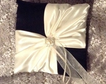 ring bearer pillow ivory or white on black satin