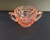 Jeanette cube/cubist pink depression glass sugar bowl