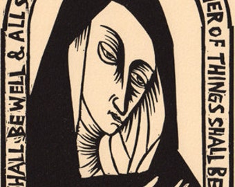 Julian of Norwich linocut Christianity prayer