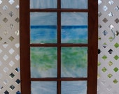 Low Tide, Summer Cottage--Handmade fused glass mounted on cabinet door