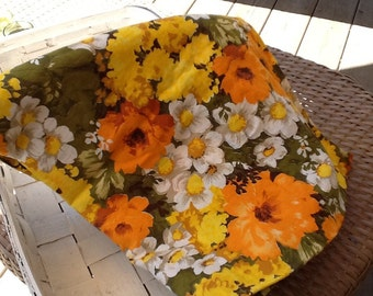 Vintage retro floral orange and brown fabric piece