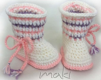 Crochet pattern NORA baby boots - Permission to sell finished items - No sewing - PDF! Full of large pictures! Pattern No. 124