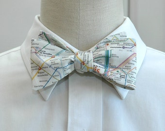 Men's Bow Tie, Paris Metro system map, Paris lover bow tie, gift for traveler, wedding bow tie, map bow tie, groom bow tie, French bow tie