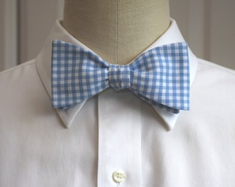 Men's Bow Tie in cool blue and white gingham (self-tie)
