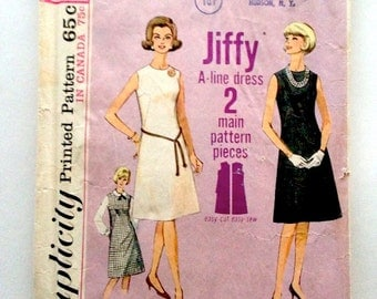 Simplicity 5508 Misses Jiffy One-Piece Classic A-line Dress or Jumper 1964 Size 16 Bust 36