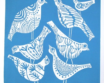 linocut, Song Birds I, Birds, patterns, contemporary print, teal, blue and white, flowers, pods, seeds, leaf, forest, home interior, spring