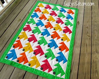 Quilt Pattern, Sleepy Puppies Twin Size Quilt, Colorful Easy Pattern, sewing, quilting, gift